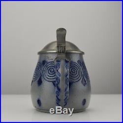 Antique Lidded Stoneware Beer Stein Design Patriz Huber Wick Werke Art Nouveau