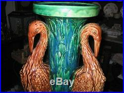 Antique Majolica Art Deco Pottery Pelican Flamingo Bird Pedestal Stoneware Stand