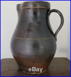 Antique Manganese Brown Slip Salt Glazed Stoneware Pottery Pitcher J BARRETT JR