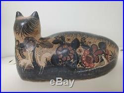 Antique Mexican Folk Art Tonala Pottery Cat 64 NY World's Fair Stoneware Ceramic