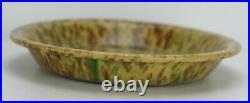 Antique Morton Pottery Yellow Ware Woodland Glaze Splatter Pie Plate 9 7/8
