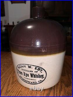 Antique Noah W. Eby 1 gallon stoneware Whiskey Jug Woodward, Pennsylvania