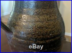 Antique North Carolina Stoneware Pitcher 19th Century Folk Pottery Green Glaze