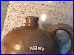 Antique Ovoid Pottery Crock Jug Salt Glazed Stoneware Primitive