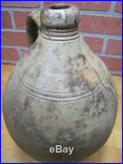 Antique Ovoid Stoneware Pottery Salt Glaze Jug Primitive Liquor Farm Saloon