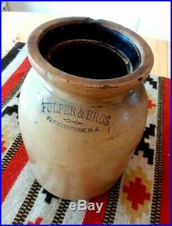 Antique Pottery Crock Fulper & Bros 1880-1899 Stoneware
