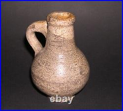 Antique Pottery Etched Makers Mark, Saltglaze, Grey Stoneware Miniature Jug