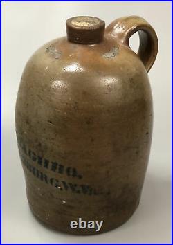 Antique Primitive Pottery Stoneware Jug A. P. DONAGHHO Parkersburg, WV 11.5 AA