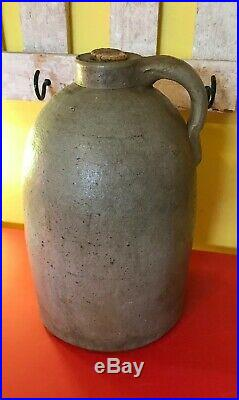 Antique Primitive Salt-Glazed Stoneware Southern Pottery Whiskey Jug 11