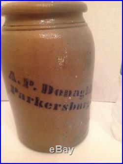 Antique Primitive Signed A. P. Donaghho, Parkerburg, W. Va. Stoneware Blue Cobalt