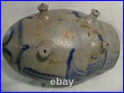 Antique Primitive Stoneware Cobalt PA Footed Keg Blind Pig Rundlet Aafa c. 1850