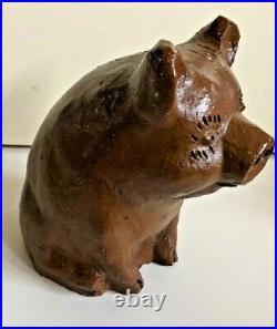 Antique Primitive Stoneware Sewer Tile American Handmade Folk Art Pig Bank