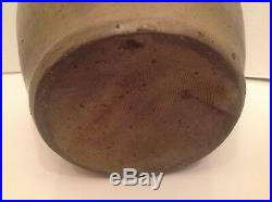 Antique Primitive Stoneware Signed 1834 Ovoid Salt Glazed Jug. Nice