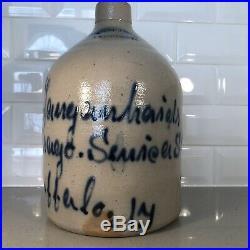 Antique Primitive West Troy Pottery Stoneware Crock Jug Blue Cobalt Design Old