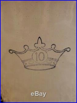 Antique ROBINSON RANSBOTTOM 10 GALLON STONEWARE POTTERY PICKLE CROCK BLUE CROWN