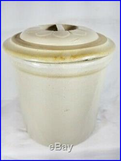 Antique Red Wing 2 Gallon Crock With Daisy Petal Lid Bar Handle Union Stoneware