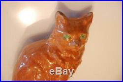 Antique Redware Cat Bank Vintage Primitive Ceramic Pottery Stoneware