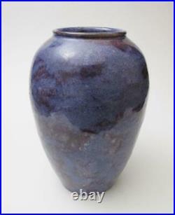 Antique Royal Doulton England Mauve & Blue Glazed Stoneware Pottery Vase