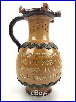 Antique Royal Doulton Motto Stoneware / Pottery Puzzle Jug / Vase