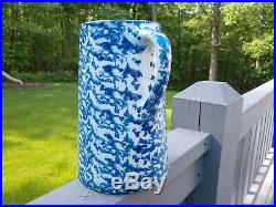 Antique SPONGEWARE PITCHER Spatterware BLUE WHITE Stoneware Pottery Salt Glaze
