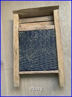 Antique STONEWARE Rockingham Bennington Blue Pottery Washboard Rare 23x14.5