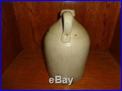 Antique S. Scheuer & Son Newark NJ Cobalt Blue Script Stoneware Pottery Jug