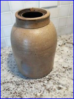 Antique Salt Glazed Stoneware Blue Cobalt Decorated Canning Jar Exc