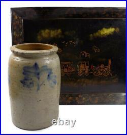Antique Salt Glazed Stoneware Jar Brushed Cobalt Flowers