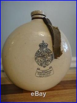 Antique Salt Glazed Stoneware Jug The PIlgrim Hot Water Bottle Early Advertising