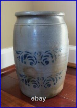 Antique Salt Glazed Stoneware Pottery Crock with Cobalt Blue Design Stencil