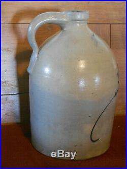 Antique Salt-glazed stoneware jug, Ballard, Burlington, Vermont. 2 gallon
