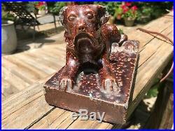 Antique Sewer Tile Pottery Dog AAFA Stoneware