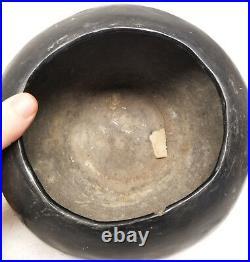Antique Southwest Indian Black Glazed Stoneware Art Pottery Bowl Santa Clara