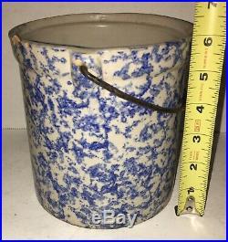 Antique Spongeware Blue White Stoneware Berry Bucket Pail Bail Handle AAFA
