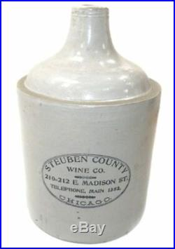 Antique Steuben County Wine Co. Whiskey Jug Type Stoneware Crock Chicago