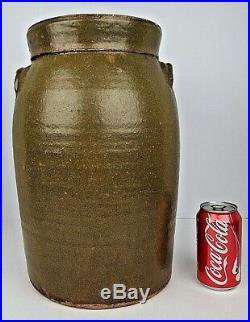 Antique Stoneware 4 Gallon Ovoid Form Churn Crock Jar Primitive Southern Pottery
