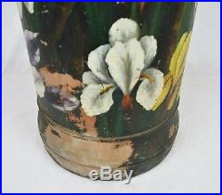 Antique Stoneware Cane Umbrella Stand Hand Painted Primitive Folk Art