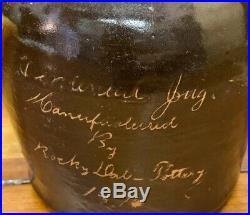 Antique Stoneware Crock Scratch Jug Quart Rocky Dale Pottery 1876