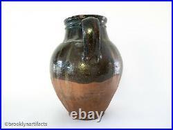 Antique Stoneware Double Handled Jug / Vase w Dark Glaze Redware