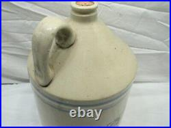 Antique Stoneware Finley Acker's Blue Banded 2 Gal Jug Pottery Crock