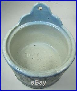 Antique Stoneware'Good Luck Swastika' Salt Crock blue white detailed pottery