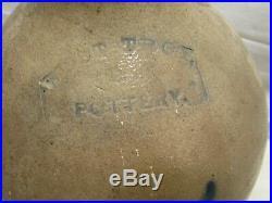 Antique Stoneware Jug West Troy Pottery (NY) Whiskey Water 1 Gal Blue Salt Glaze