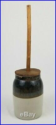 Antique Stoneware Pottery Butter Churn Crock Primitive Farmhouse Decor