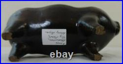 Antique Stoneware Pottery Figural Pig Flask Albany Glaze 19th Century