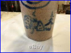Antique Stoneware Salt Glaze Jug Rare Small Size Folk Art Cobalt Blue Painting