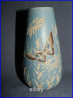 Antique Victorian Salopian Art Pottery Art Nouveau Vase Butterfly & Flowers