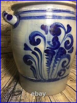 Antique Vintage Blue Cobalt Salt Glazed Stoneware Large Pot Vase Crock Rare