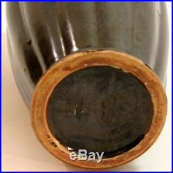 Antique Vintage Japanese Art Pottery Arts & Crafts Deco Lobed Flambe Drip Vase