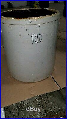 Antique Vintage Large Round 10 Gallon Stoneware Pottery Crock