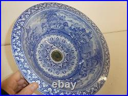 Antique Vintage Panorama Blue & White Transfer Wave Wash Basin Sink (A34)